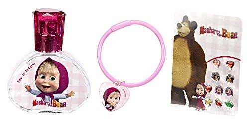 Mascha und der Bär Geschenk-Set (Beauty und Schmuck-Set, bestehend aus Eau de Toilette (30ml), Armband und Sticker-Ohrringen) für Mädchen