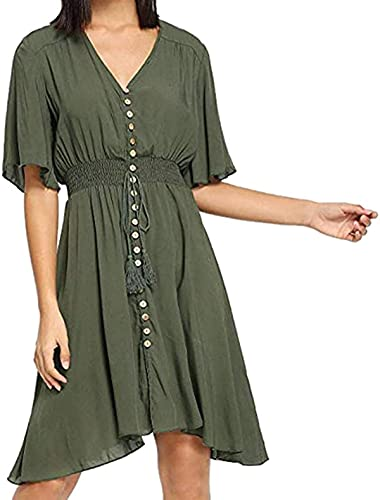 Vestidos tipo túnica para mujer, abotonados de media manga plisada, vestido de verano casual con borla con cordón S-2XL