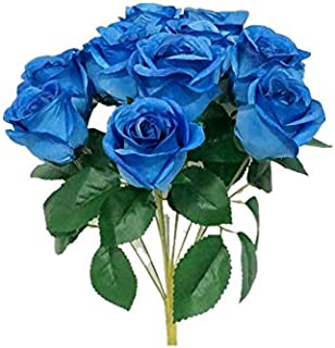 Sweet Home Deco 16'' Silk Rose Artificial Flower Bouquet (12 Stems/12 Flowers) Wedding Home Decorations (Royal Blue)