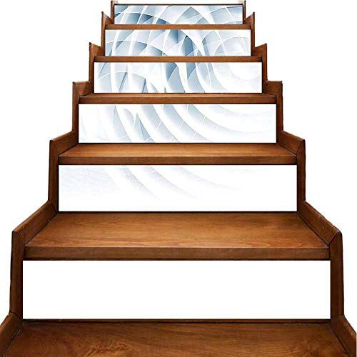 Self Adhesive Decal Futuristic Digital Spirals with Dimensional Line Features Roll Vortex Print Baby Blue Stair Riser backsplash Refurbished Stair Treads, W39.3 x H7 inch