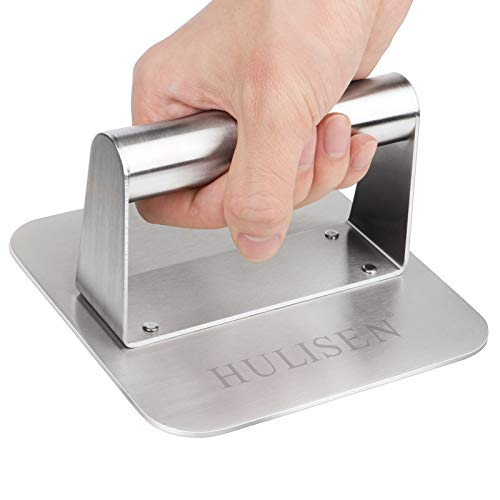 HULISEN Stainless Steel Burger Press, 5.5 Inch Square Burger Smasher, Professional Griddle Accessories Kit, Grill Press Perfect for Flat Top Griddle Grill Cooking