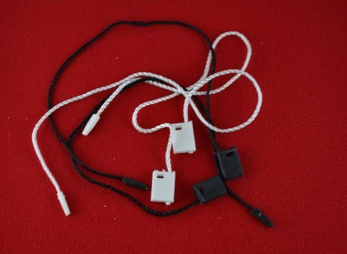 "7"" 100 Pcs Combo White & Black Hang Tag Nylon String Snap Lock Pin Loop Fastener Hook Ties"