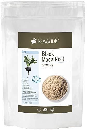 Schwarzes Maca Pulver, roh – 454g – bio- zertifiziert, traditionell angebaut und geerntet in Peru, Fair Trade, gentechnikfrei, glutenfrei, vegan, 50 Portionen