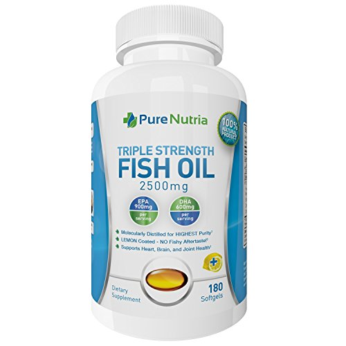 Omega 3 Fish Oil Supplement - 2500mg Fish Oil 900mg High EPA 600mg DHA - Supports Healthy Heart and Joint Pain Relief Lemon Flavor Mercury Free Omega 3 Softgels Pharmaceutical Grade (180 Capsules)