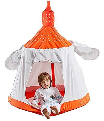 XIEZI Hamaca para Acampar Al Aire Libre Columpio para Hamaca con Nido para Niños con Luces Decorativas Led Silla Colgante Impermeable para Niños Asiento para Columpio para Niños Tienda De Ca