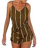 YOINS Jumpsuit Damen Kurz Sommer Sexy Schulterfrei Elegante Playsuit Einfarbig Ärmelloser Overall