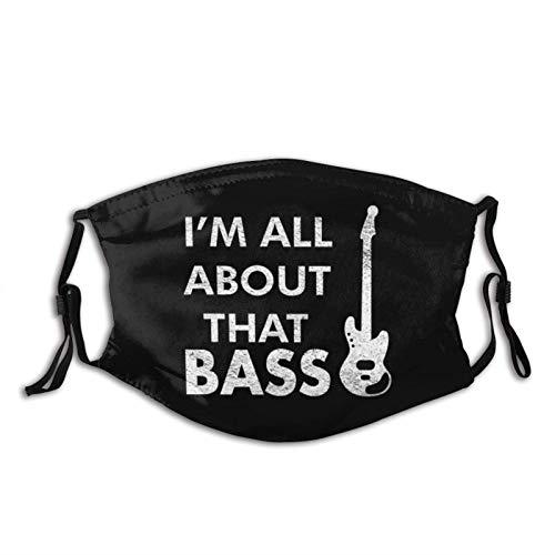 I Am All About That Bass Face M-A-S-K - Bandanas lavables para la cara de lobo, tela reutilizable M-A-S-Ks ajustable con filtro