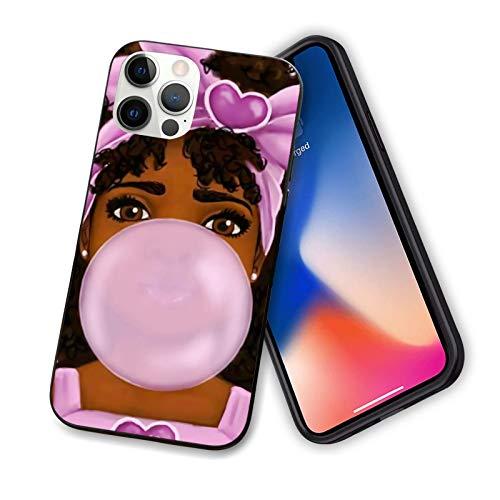 Compatible con iPhone 12 Pro Max 6.7 afroamericanos negros mujeres afro niñas África melanina corona femenina linda parte trasera de PC duro con TPU suave a prueba de arañazos fundas de teléfono