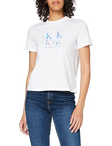 Calvin Klein Jeans Damen Shine Logo Tee Spreizkragen, Bright White, Small