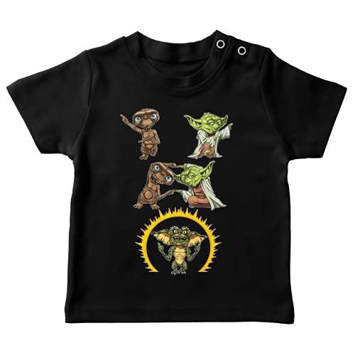 T-Shirt bébé Noir Parodie Star Wars - Gremlins - ET - Yoda, E.T. l'extra-terrestre et Spike Le Gremlin - Une Fusion Venue de l'espace ! (T-Shirt de qualité Premium de Taille 24 Mois - imprimé en FRA