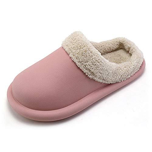 B/H Zapatillas de Rizo Hombre,Mobiliario para el hogar de Invierno, Zapatos cálidos de algodón, Zapatillas cómodas Antideslizantes Impermeables para Interiores y Exteriores para Mujer.-Rosado_39