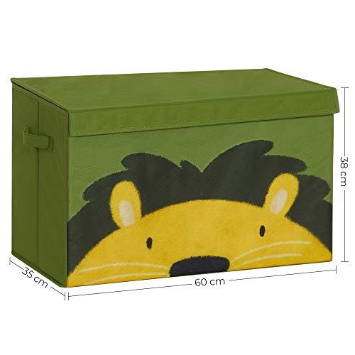 SONGMICS Aufbewahrungsbox, 60 x 35 x 38 cm, Spielzeug-Organizer, Faltbox, Stoffbox mit 2 Griffen und Deckel, Aufbewahrungskiste, für Kinderzimmer, Spielzimmer, Schlafzimmer, grün-gelb RFB741C01 - 4