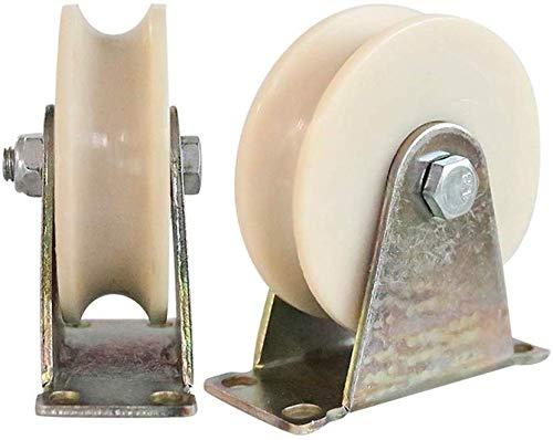 2 rollen met U-groeven van nylon, voor intensief gebruik, riemschijf voor ronde buis, dubbele kogellagers voor industriële machines, schuifdeur, poort 60mm/2.5in