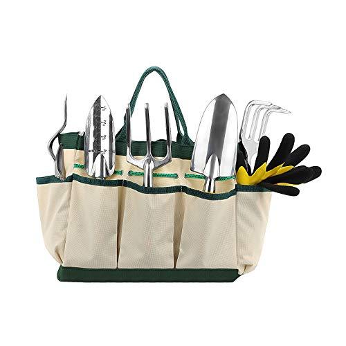 Xpork Garden Tool Set 9 Piece Aluminum Hand Tool Kit Outdoor Tool for Gardener with Ergonomic Handle, Gardening Tools for women men