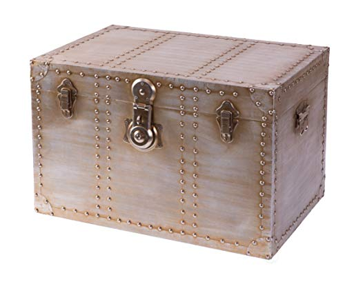 Vintiquewise Industrial Wooden Aluminum Storage Trunk with Lockable Latches, Medium