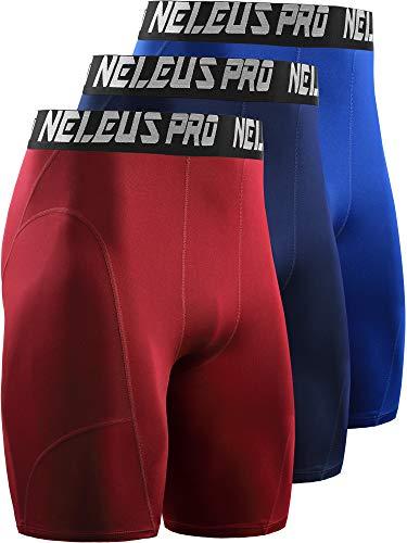 Neleus Men's 3 Pack Compression Shorts,6065,Blue/Navy/Red,US M,EU L