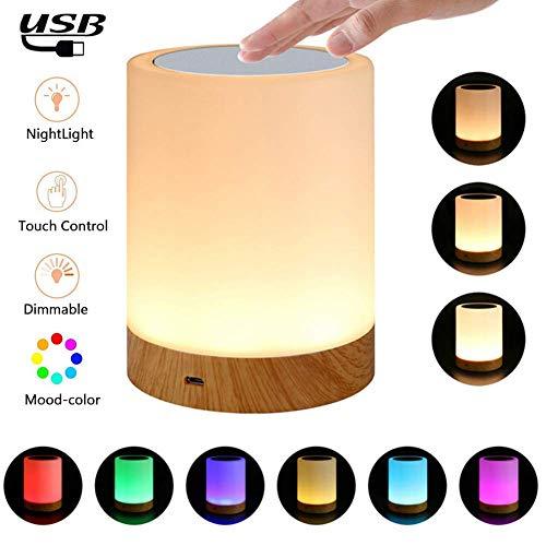 Atralife Luz de Noche Recargable, 6 Colores LED Lámparas de Mesa para Dormitorios Luz Táctil con Sensor con Regulable Blanco Cálido y RGB Color-Cambiante Luz Nocturna para Niños