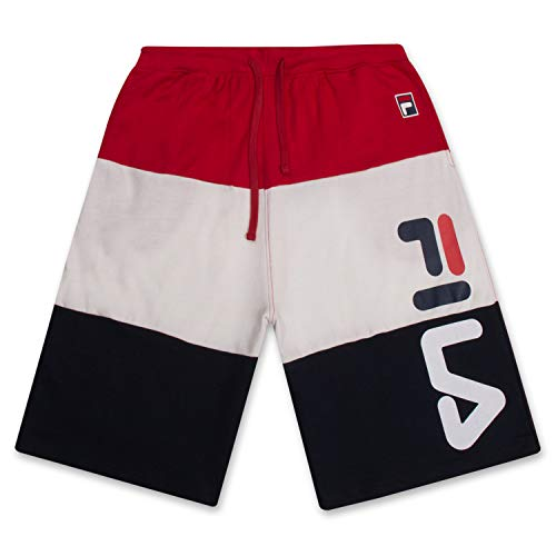 Fila Mens Shorts Big and Tall Shorts French Terry Sweat Shorts for Men Red White Navy