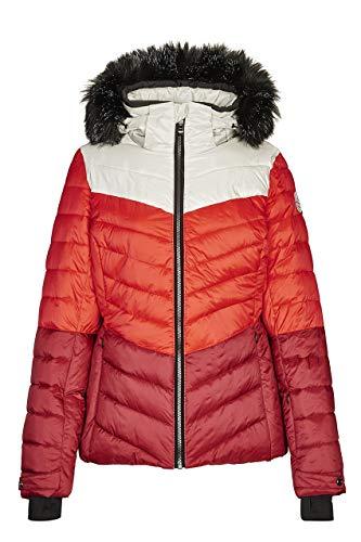 killtec Skijacke Damen Brinley - Winterjacke Damen - Damenjacke sportlich mit Skipasstasche - warme Jacke für den Winter - wasserdicht, dunkelrot, 40