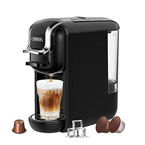 HiBREW H2A Machine à café expresso,infusion froide or chaude, 4 en 1 à capsules multiple, en poudre,moulu,1450W,600ml (Noir)