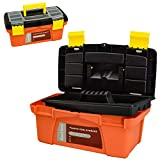 MagDurnus 12.5-inch Small Plastic Tool Box,Portable Tray Toolbox Storage,Hardware Organizer for Home,Craftsman and Garage,Tough case with Handle and Locking(Orange)