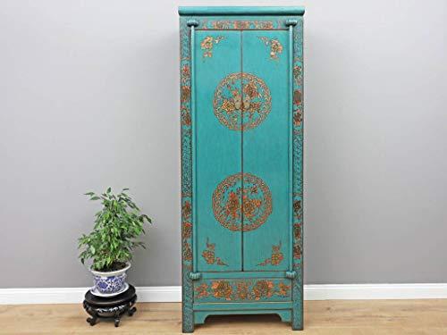 Yajutang Chinesischer Hochzeitsschrank 2 Türen 1 Schublade bemalt