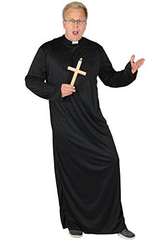 Foxxeo Priester Kostüm für Herren Robe mit Kragen in Größe M bis XXXXL - Pfarrer Talar Herrenkostüm Obergewand Gott Karneval Fasching Party Kirche schwarz Größe XXXL
