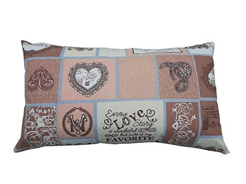 eurostile Cojín vintage de 50 x 27 cm con cremallera, relleno y fundas incluidas, tejido mixto algodón – poliéster. Cojines para sofá – Viaje – Cama cojín