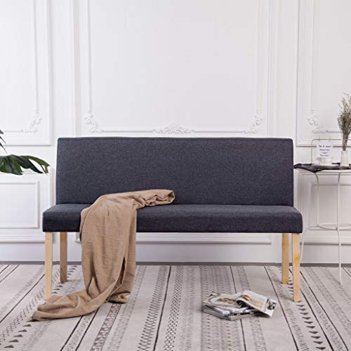 UnfadeMemory Sitzbank mit Rückenlehne Flurbank 139,5 cm Polsterbank Bank Kiefernholz-Rahmen und Stoff-Bezug Sitzkomfort 139,5x54x85,5 cm (Dunkelgrau)
