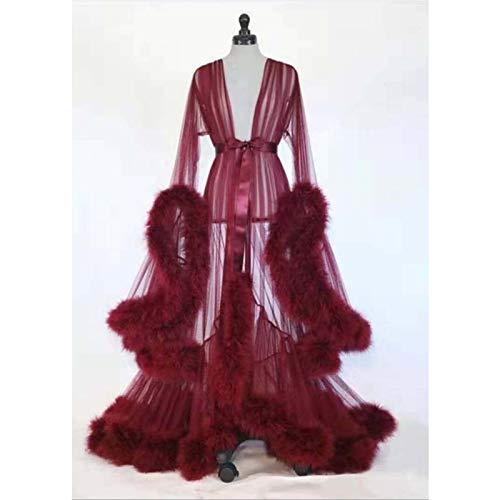 HYISHION Sexy Dessous Langes Spitzenkleid in Übergröße, Nachtwäsche Durchsichtige Feder Brautkleid Frauen, Kimono Cardigan mit Federn Morgenmantel Nachtwäsche,Rot