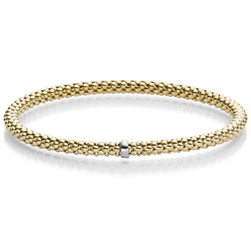 Himbeer-Armband Armreif Armschmuck elastisch 4mm 585 Gold Gelbgold für Damen