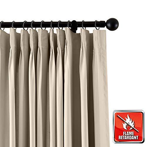 ChadMade Feuervorhang Blickdichter Vorhang, Beige 183B x 305H Gardine für Zuhause, Büro, Hotel, Schule, Kino und...