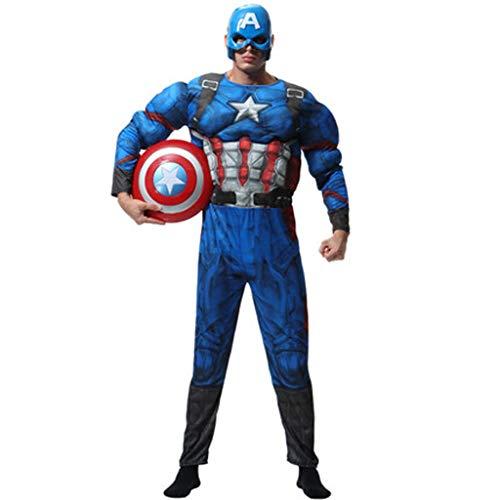 YUNMO Attrezzature Fun Costume di Halloween per Adulti Maschi Avengers Eroe Capitan America Costume Cosplay
