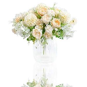 Silk Flower Arrangements Artificial Flowers, 2 Pack Fake Peony Silk Hydrangea Bouquet Decor Plastic Carnations Daisy Realistic Flower Arrangements Wedding Decoration Table Centerpieces,for Home Office Party Decor (White)