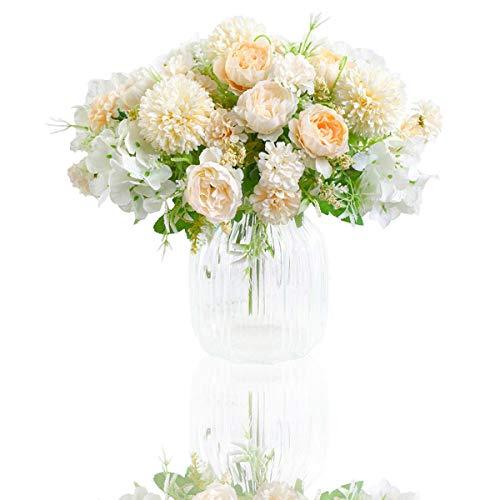 Flores Artificiales, Paquete de 2 Decoraciones de Ramo de Imitación, Arreglos Florales de Plástico Realistas, Decoraciones de Boda, Centros de Mesa, Decoraciones Para Fiestas de Oficina (Blanco)