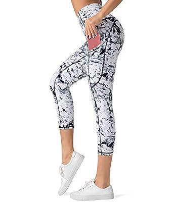 Dragon Fit High Waist Yoga Capri Leggings with 3 Pockets,Tummy Control Workout Running 4 Way Stretch Yoga Pants (Medium, Capri29-Marble)
