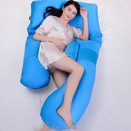 PLID Almohada de Embarazo Almohada de Maternidad Almohada para Embarazadas Funda 100% Algodon Lavable Embarazo Mejorar Sueño Suave Algodon Almohada Desmontable y Lavable Cojin Lactancia Bebe