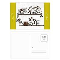 無邪気な子供たちのかわいいイラストの本棚 友人のポストカードセットサンクスカード郵送側20個
