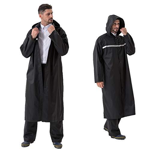 Pahajim Poncho de Pluie Réutilisable Vêtements Imperméables,Longs,Réfléchissants et Respirants Vêtements de Pluie Pour Femmes Hommes (XL, noir)