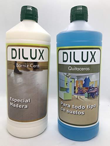 Dilux - Pack Barniz Cera para suelos de madera 1 L + Quitaceras 1 L