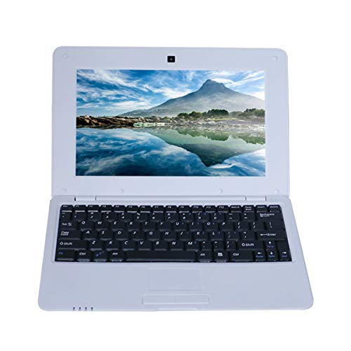 Gobutevphver Notebook 10.1 Pulgadas para Android 5.0 Via8880 Cortex A9 1.5Ghz 1G + 8G WiFi Mini Netbook Game Notebook Laptop Pc Computer - Blanco Enchufe de la UE