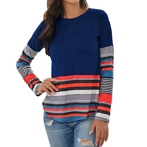 T-Shirt Damen Casual Mode Farbstreifen Spleißen Shirt Tops Frühling und Herbst Neu...
