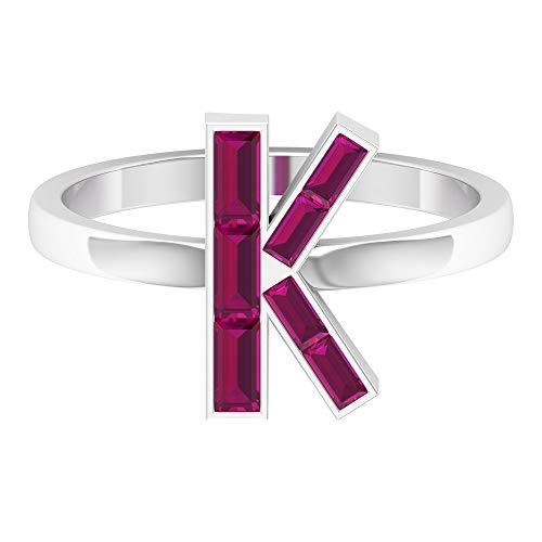 Anillo rubí en forma de baguette de 0,84 quilates, anillo alfabeto letra K, anillo personalizado, aniversario único, anillo de piedras preciosas rojas, 14K Oro blanco, Diamante, Size:EU 67