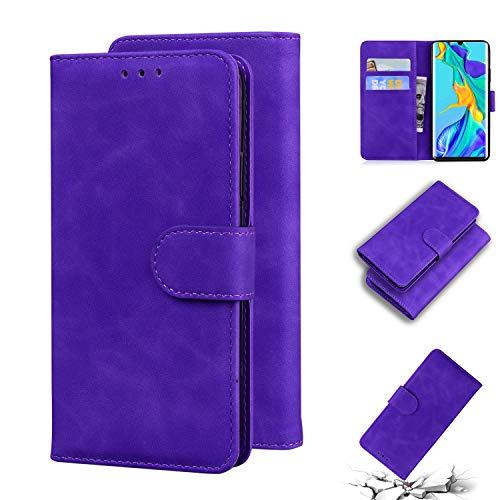 LODROC [Huawei P30 Pro] Hülle, TPU Lederhülle Magnetische Schutzhülle [Kartenfach] [Standfunktion], Stoßfeste Tasche Kompatibel für Huawei P30Pro - LOTX0100454 Violett