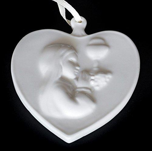 Cuore porcellana con bambina, bomboniera comunione - ''Cupido''