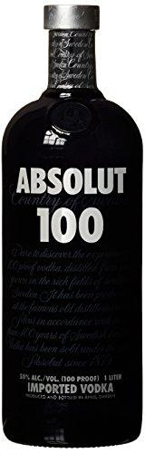 Absolut 100 / 50% Vol. Edel Wodka in eleganter schwarzer Flasche / Luxuriöses Geschmackserlebnis / 1 x 1 L