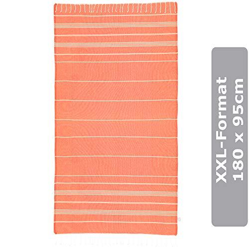 XXL Liegetuch Orange - 95x180cm - Strandtücher für Kinder, Jugendliche und Erwachsene - 100% Baumwolle flachgewebt, Sand abweisend, saugstark und schnell-trocknend