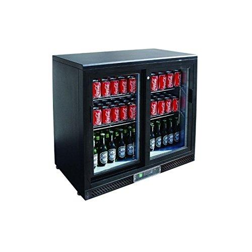 Arrière bar réfrigéré noir avec portes vitrées coulissantes - 2 portes