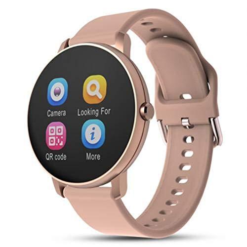 LXF JIAJU Bluetooth Impermeable Smart Watch 1.3inch Pantalla táctil Presión Arterial Monitor de Fitness Pulsera de Negocios para iOS Android (Color : Pink)