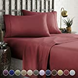 HC COLLECTION Hotel Luxury Comfort Bed Sheets Set, 1800 Series Bedding Set, Deep Pockets, Wrinkle & Fade Resistant, Hypoallergenic Sheet & Pillow Case Set(Queen, Burgundy)